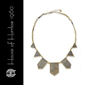House of Harlow Etched 5 Station Silver Necklace